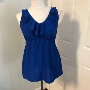 Electric blue ruffle maternity top blouse